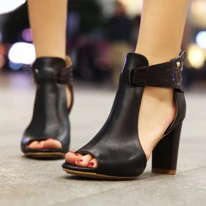 New 2020 Women Sandals High Heeled Gladiator Buckle Sandals Peep Toe Women Summer Shoes Zapatos Mujer Size 34 43 Tennis Shoes Oxford S sDGu#