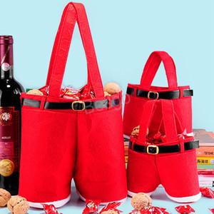 Candy Bag bottiglia di vino Buon Natale Candy Borse Babbo Natale bretella pantaloni regalo Borse Decorazioni di Natale regalo Borse BH4025 TQQ