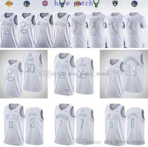 2020 jérsei do basquetebol dos homens LakersBucksguerreirosRocketsJamesCurry Durant Westbrook Harden MVP camisa branca