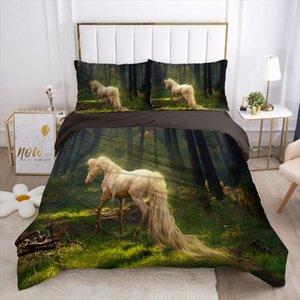 3D letto di lusso della copertura del Duvet della trapunta Consolatore Caso biancheria da letto Re Regina completa singolo Double Black Animale Cavallo Copriletto