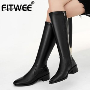 FITWEE Women Knee High Boots Thick Heel Zipper Shoes Square Toe Winter Warm Boots Women Fashion Party Footwear Size 33-40