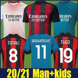 2020 AC Milan Ibrahimovic jersey de fútbol kit 120 niños hombre camiseta de fútbol Aniversario REBIC Bennacer THEO TONALI Camisa AC Milan 20/21