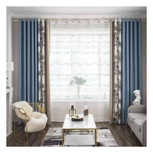 2 pcs Curtain Modern light luxury seamless patchwork jacquard curtain in solid color Nordic flax solid meteor linen curtains