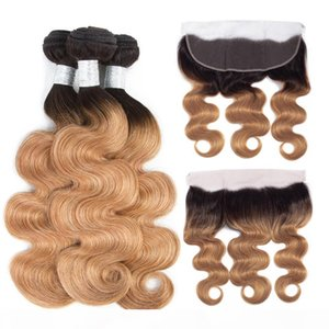 Ombre Color T1B 27 Body Wave Bundle with Lace Frontal Brazilian Peruvian Malaysian Virgin Ombre Blonde Human Hair 3 Bundle with Closure 13*4