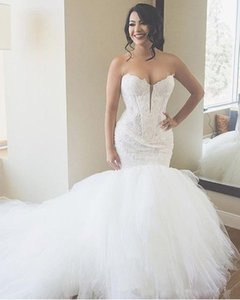 2020 luxe Ivoire Dentelle sirène Robes sweetheart bal en tulle Puffy appliques robe de mariée grande taille Robes de mariée Custom Design