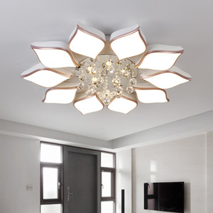 Remote controller crystal ceiling chandelier modern flower crystal ceiling lamps for living room surface mounted bedroom lampara