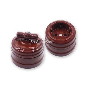 Set Home Improvement Europea interruptor de la perilla de cerámica Interruptor zócalo del enchufe de la lámpara de pared