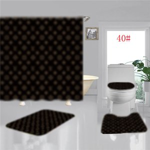 10 Styles Poliban Salle de bain Tapis antidérapants toilettes Mat Fashion Imprimer Rideau de douche Sets de anti-espion