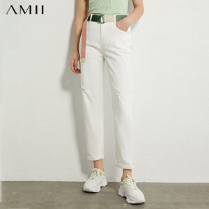 AMII Minimalisme Automne Femmes Jeans Mode taille haute solide Jeans Ripped causales Ankel longueur Femme 12070274