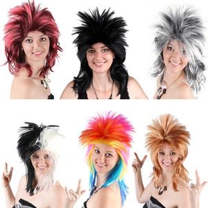 Vente chaude colorée cosplay perruque de cheveux synthétiques Parti perruques Multicolor Gradient perruque pour Halloween Party Coiffures cadeau de Noël