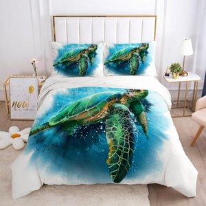 Casos edredon cobrir Set Comforther Quilt Covers Pillowcase Rei Rainha completa Twin tamanho Lençois 3D Animais Marinhos Turtle Bedding Sets