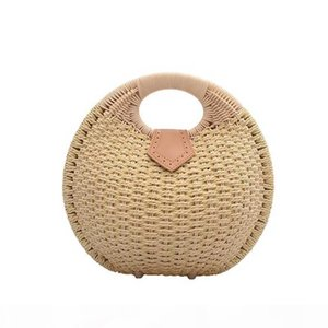 Women Bag Straw Handbag Fashion Hand Bag Round Hangbag Wallet Lady Cell Phone Handbag Multicolor Wallet
