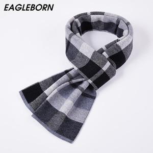 EAGLEBORN Nueva bufanda de lana a cuadros de la bufanda de la cachemira de los hombres de alta calidad de la marca de Invierno MANERA calienta enrejado de los hombres