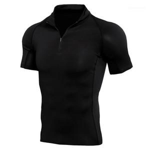Short Sleeve Mens Tops Summer Casual Teenager Tees Zipper Stand Collar Designer Mens T Shirts Quick Dry