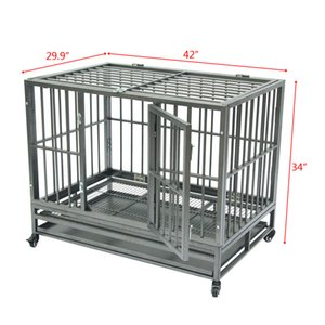 """WACO Dog Cage, 42"""" Metal Heavy Duty Steel Frame Portable with Tray Rolling Casters, Strong Durable Easy Cleaning Pet Cat Crate Kennel Silve"""