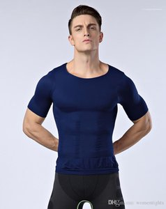 T-shirt Body Sculpting Mens Tops Designer Mens Body Shapers Slim Moisture Minus the Beer Belly Short Sleeve