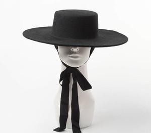 Yüksek Kaliteli Sonbahar Fedora Kadın Büyük Boy Moda Büyük Kadın Yün Flat Top Bayanlar Kış Y200102 için geniş Brim Şapka