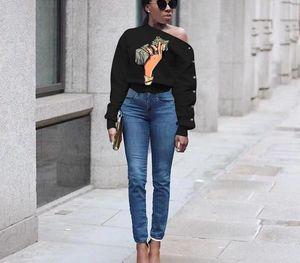 Sonbahar Tasarımcı Tshirts Eğimli Omuz Dolar Uzun Kollu Moda Stil Bayan Giyim Casual99 yazdır kadın