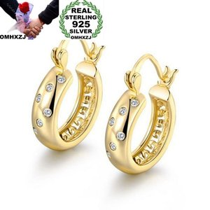 OMHXZJ Wholesale European Fashion Woman Girl Party Gift Zircon 925 Sterling Silver 18KT Rose Yellow Gold Hoop Earrings EA441