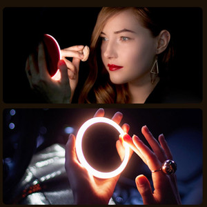 New Portable LED Makeup Mini Circular Cosmetic Mirror 3 Dimmable Brightness Compact Travel Mirror Wireless USB Charging