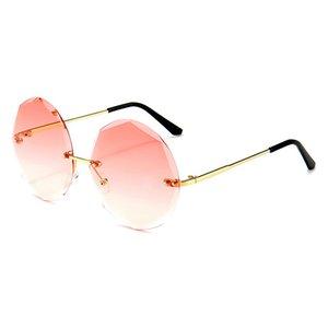 Runde Sonne Sommer Sonnenbrille Weibliche Brille Randlose Rosa Sonnenbrille Mode Brille Frauen Keepioneer UV400 Damen PCobu