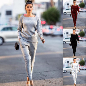 Kadınlar Yuvarlak Boyun Uzun kollu T-shirt Katı Renk İpli Uzun Pantolon Suit Set Bayanlar Spor Bluz Üst Pantolon Seti