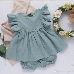Summer INS Toddler Baby Girsl Suits 2pieces Set Ruffles Sleeveless Dresses + Bloomers Linen Organic Cotton Kids Girls Clothing Suits 0-2T