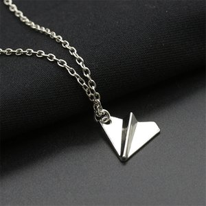 3D Design Origami Plane necklaces black Gold silver plated necklace Simple Paper tiny aircraft Airplane harry Styles jewellery