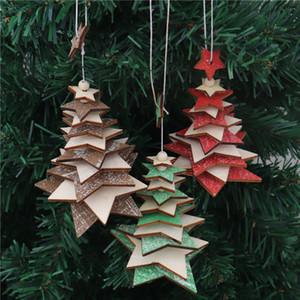 Деревянные елки Подвеска пятиконечная звезда Снежинка Строка Xmas елка Красный Зеленый Деревянные украшения рождественской елки