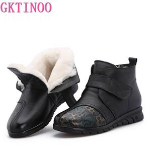 GKTINOO Nouveau Bottes de neige Femme Bottes hiver de fourrure cheville pour les femmes Laine d'impression en cuir véritable mère plat Gardez chaussures chaudes