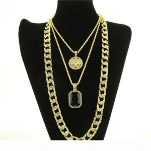 Mens Hip Hop Necklace Jewelry New Ruby Pendant Necklace 3Pcs Set Fashion Cuban Link Chain Jewelry Set