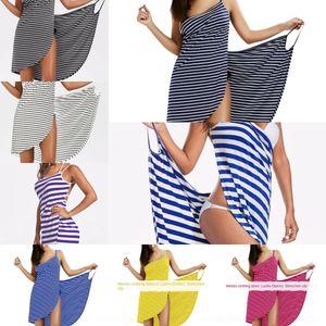 60TZs 61G45 2019 Urlaub Rock sexy Sommer Holiday Beach Hosenträgerrockstrand neues Kleid gestreiften Kleid Straps