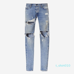 18ss Fear of God Denim Pants FOG Ripped Jeans Print Mens Jeans Fashion Skinny Pants Zipper Fly Trousers Letters Casual Jeans HFTTKZ106 t10