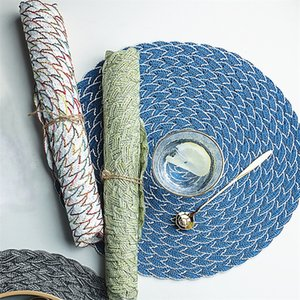 Placemat Pad Coasters Kitchen Table Mats PP Knitting Bowl Mats Padding Mat Insulation Pad Round Placemats Hand-Made