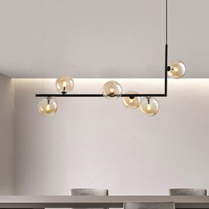 Modern Glass Ball Chandelier Nordic Dinning Room Long Table Hanging Light Creative Decor Suspension Light Fixture For Bar Shop