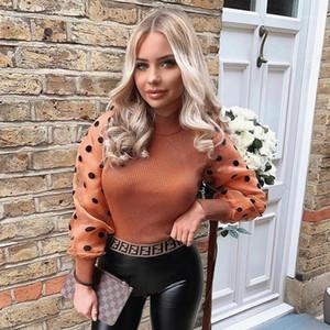 Yüksek Yaka Moda İlkbahar Sonbahar Giyim Casual Triko Bayan Tasarımcı Kasetli Kazak Süveter Puff Kol Womens