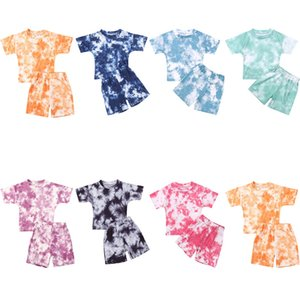 Infant Baby Girls Tie-dye Printed Clothes Sets For 1-5Y Summer Short Sleeve Print Boy T Shirts Tops+Shorts Pants Kids Boy Suits