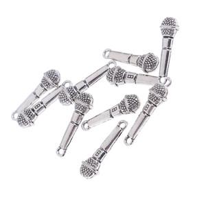 10pcs Set 1/12 Dollhouse miniatures en alliage Modèle Microphone Chambres Vie Scenes Accessoires Ornements