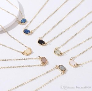2018 Latest Wholesale Single Small Druzy Stone Pendant Necklace FWinter Jewelry Gold Tone Thin Chain Nickle Free