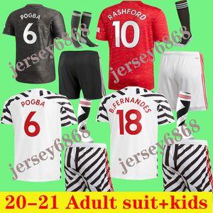 Yetişkin takım çocuklar 20 21 Manchester futbol Jersey çocuklar Birleşik Pogba MATA FRED RASHFORD Matic çocuklar kiti gömlek 2020 2021 gömlek ÇOCUKLAR + SCOKS kiti