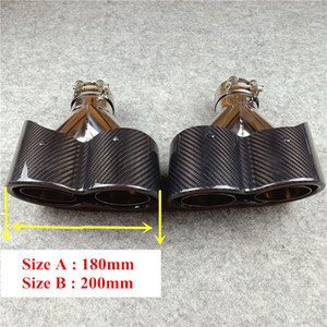 De primera calidad 1 par Y Modelo de carbono brillante de escape 304 Consejos de acero inoxidable para Akrapovic doble silenciador toberas de escape Tubos