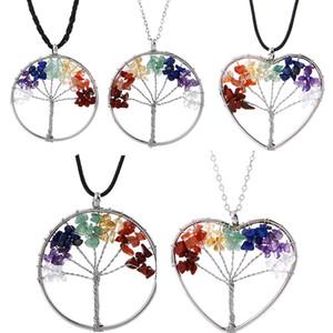 Natürliche Kies Baum des Lebens Halskette Kristall Fortune-Baum-Halsketten runden Herz-Anhänger Halskette Hip-Hop-Schmuck