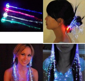 Flashing Luminous Light Up LED Hair Extension Flash Braid Party Girl Hair Glow by Fiber Optic Christmas Halloween Night Lights ps2108