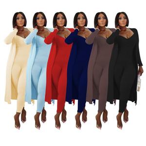 женская с длинными рукавами одежды 2 частей установлены случайные ребра с длинным рукавом пальто + пригонка комбинезоном два набора осенью 2020