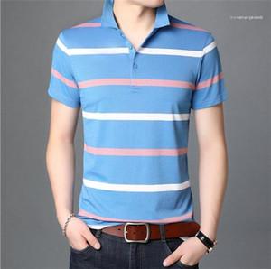 Short Sleeve Tees Men Business Breathable Clothes Mens Striped Plus Size Polos Man Summer Designer Lapel Neck