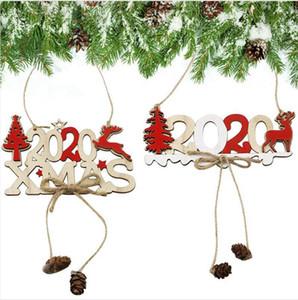 2020 رسالة عيد الميلاد البرمة افتة خشبية قلادة عيد الميلاد خشبي زينة شجرة عيد الميلاد الإبداعية الديكور اللوازم DDA537