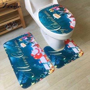 Zeegle Navidad Alfombra Alfombra de baño Cuarto de baño estera del piso antideslizante 3PCS Aseo alfombras de baño Set absorbente de espuma de memoria Alfombra WC
