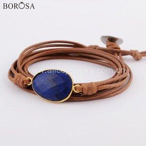 Dropshipping Wrap Bracciali Natural Stone Charm 5 volte braccialetto di amicizia Boho Bracciale Lapislazzuli Labradorite