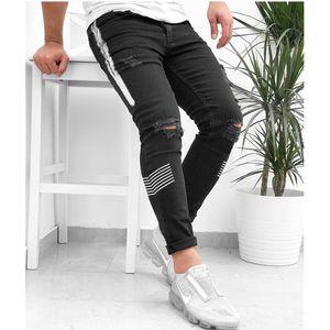 Новый 2020 Mens Casual Hole Разорванные Тощего Упругие Карандаш штаны Мужской Изношенная Slim Fit штаны Брюки Леггинсы