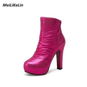 MeiLiKeLin Sexy bottines de talons hauts femmes bottes plate-forme automne chaussures de mariage d'hiver tissu Sequin Rose rouge bottillons femelle 43